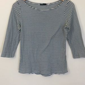 Green and white striped BDG boatneck sailor top
